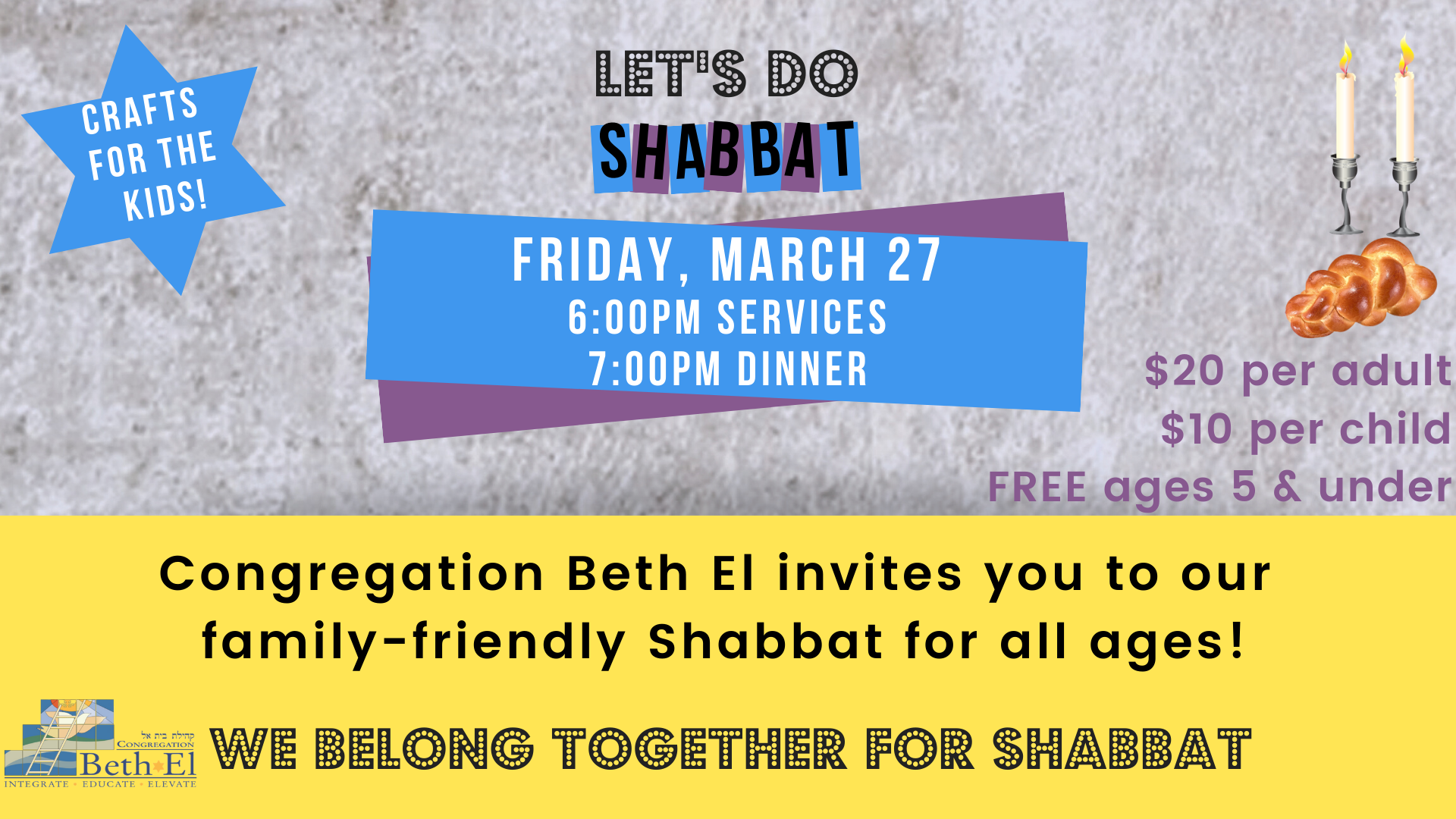 Pre-Pesach Dinner – Friday, March 27 – Welcome to Congregation Beth El